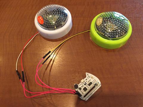nekoboard2と早押しボタンを接続したところ 桃井プログラミング教室 夏休み特別講座